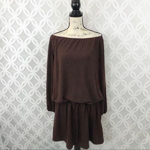 Alyn Paige Brown Knit Dress With Drawstring Waist